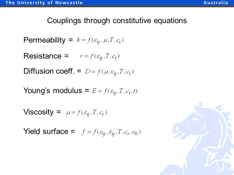 Couplings through constitutive equations Young's modulus = Viscosity = Yield surface = Permeability =Resistance = Diffusion coeff.