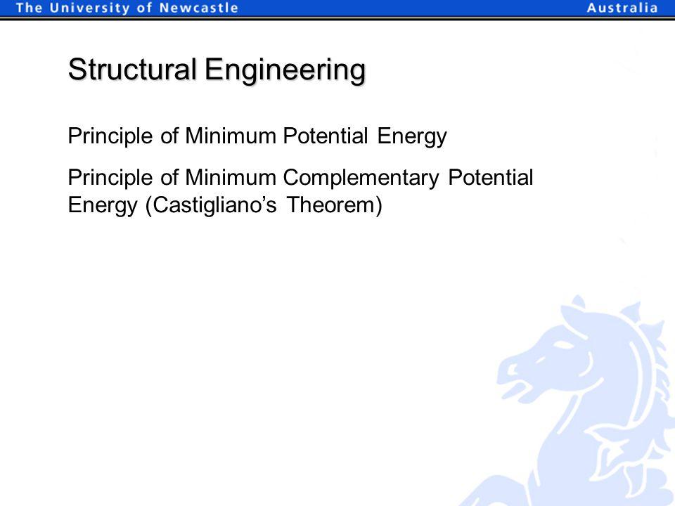 Principle of Minimum Potential Energy Structural Engineering Principle of Minimum Complementary Potential Energy (Castigliano's Theorem)