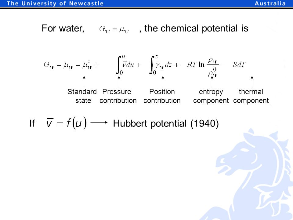 For water,, the chemical potential is Standard state Pressure contribution Position contribution entropy component thermal component If Hubbert potential (1940)