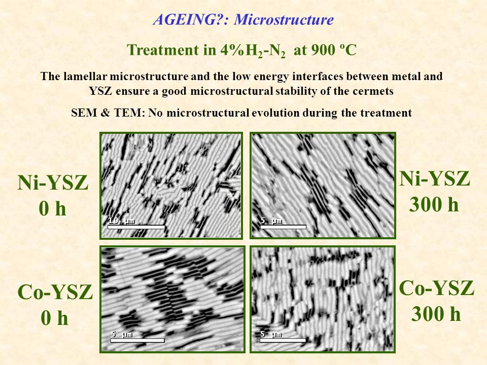 Ni-YSZ 0 h Co-YSZ 300 h Ni-YSZ 300 h Co-YSZ 0 h AGEING : Microstructure Treatment in 4%H 2 -N 2 at 900 ºC The lamellar microstructure and the low energy interfaces between metal and YSZ ensure a good microstructural stability of the cermets SEM & TEM: No microstructural evolution during the treatment