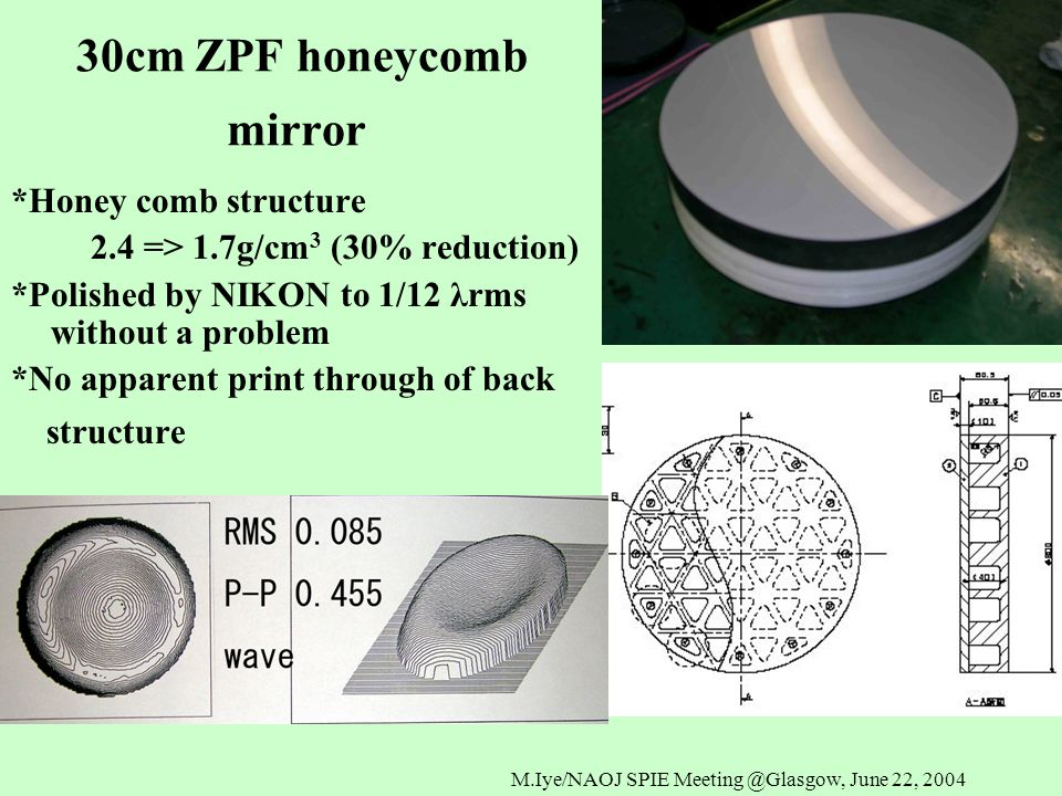 M.Iye/NAOJ SPIE Meeting @Glasgow, June 22, 2004 30cm ZPF honeycomb mirror *Honey comb structure 2.4 => 1.7g/cm 3 (30% reduction) *Polished by NIKON to 1/12 λrms without a problem *No apparent print through of back structure
