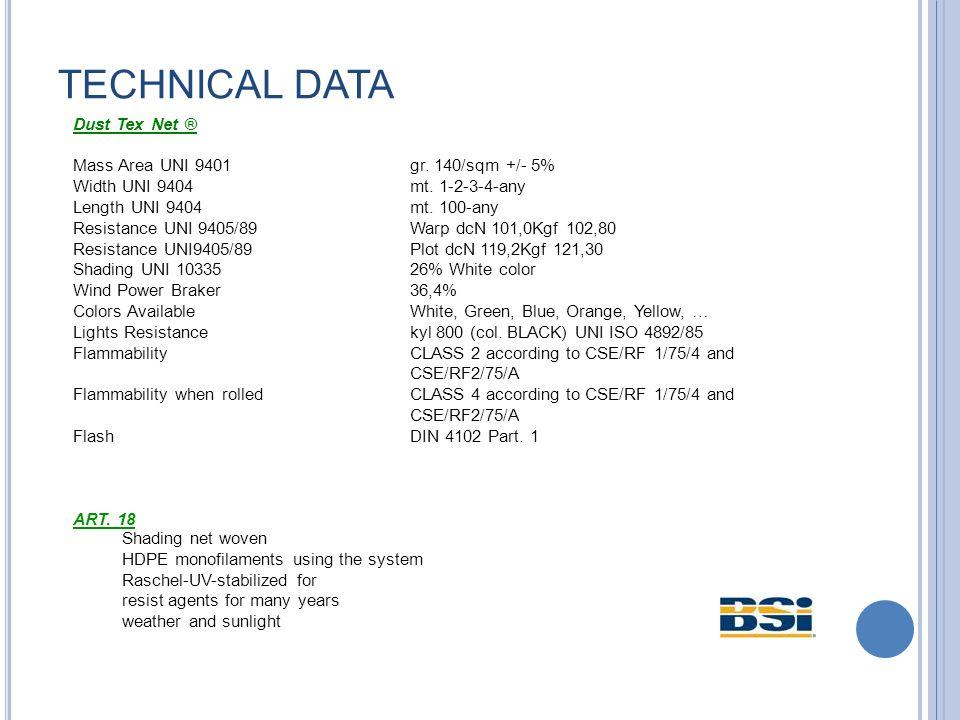 TECHNICAL DATA Dust Tex Net ® Mass Area UNI 9401gr.