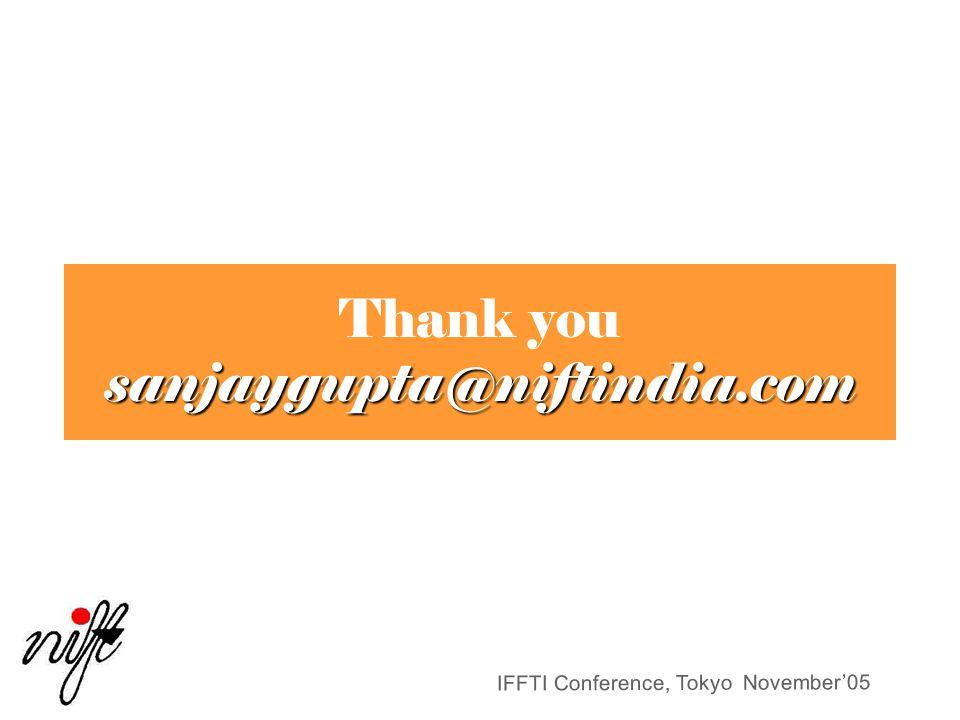 IFFTI Conference, Tokyo November'05 sanjaygupta@niftindia.com Thank you sanjaygupta@niftindia.com