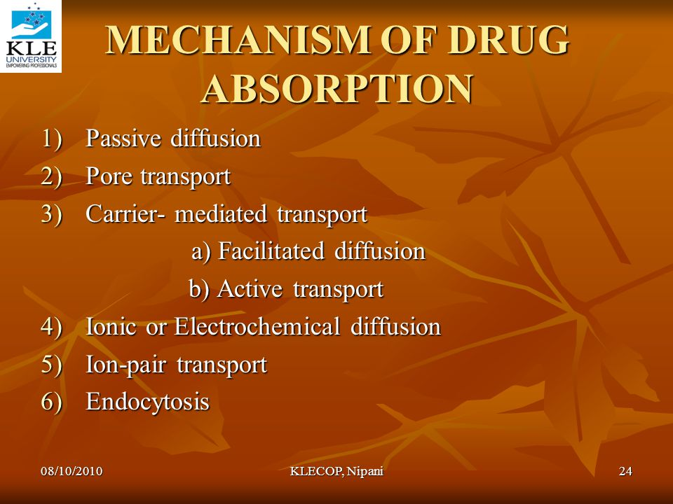 MECHANISM OF DRUG ABSORPTION 1)Passive diffusion 2)Pore transport 3)Carrier- mediated transport a) Facilitated diffusion a) Facilitated diffusion b) A