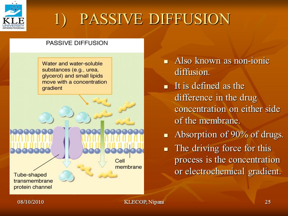 1)PASSIVE DIFFUSION Also known as non-ionic diffusion. Also known as non-ionic diffusion. It is defined as the difference in the drug concentration on