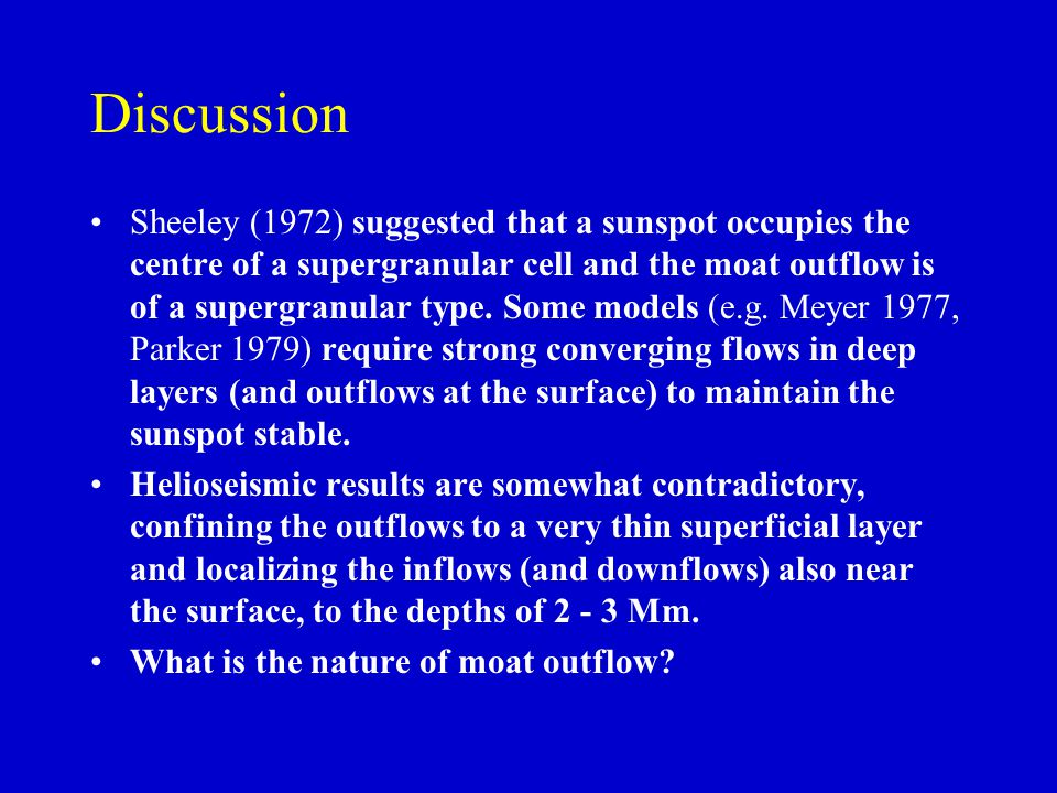 Discussion Sheeley (1972) suggested that a sunspot occupies the centre of a supergranular cell and the moat outflow is of a supergranular type. Some m