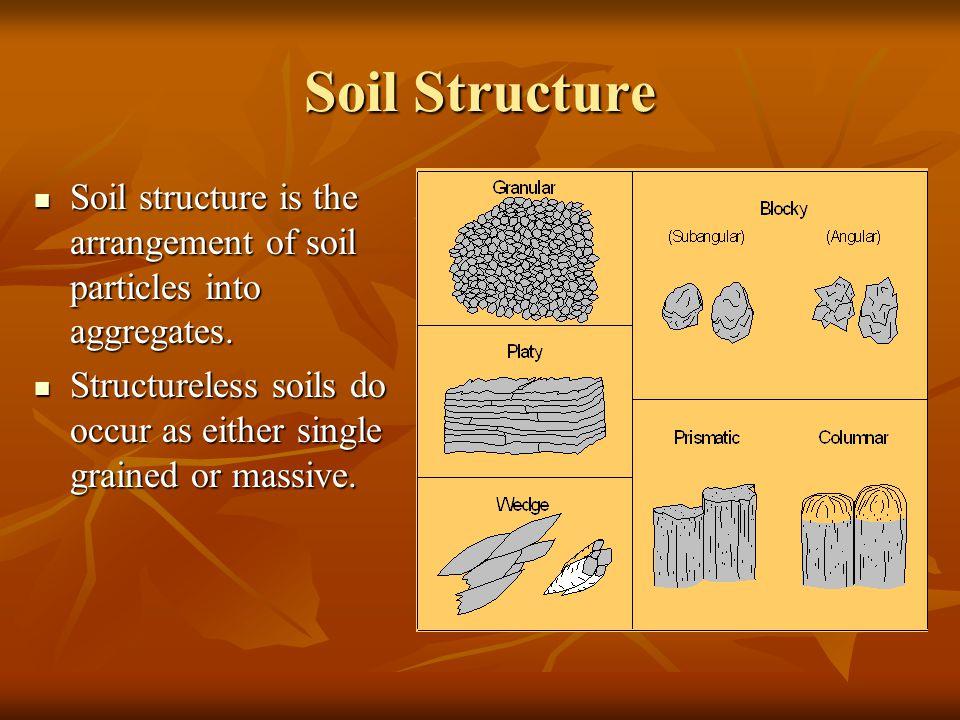 Soil Structure Soil structure is the arrangement of soil particles into aggregates.
