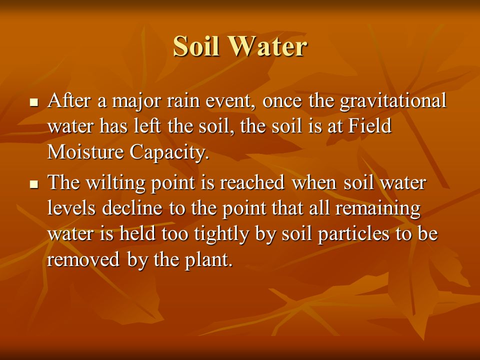 Soil Water After a major rain event, once the gravitational water has left the soil, the soil is at Field Moisture Capacity.