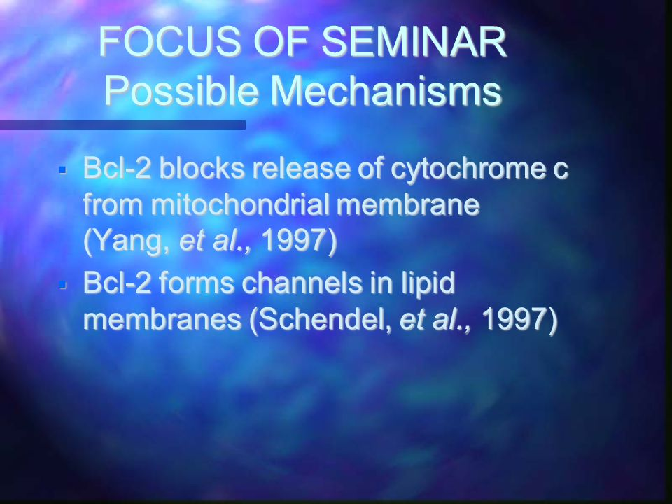 FOCUS OF SEMINAR Possible Mechanisms  Bcl-2 blocks release of cytochrome c from mitochondrial membrane (Yang, et al., 1997)  Bcl-2 forms channels in lipid membranes (Schendel, et al., 1997)