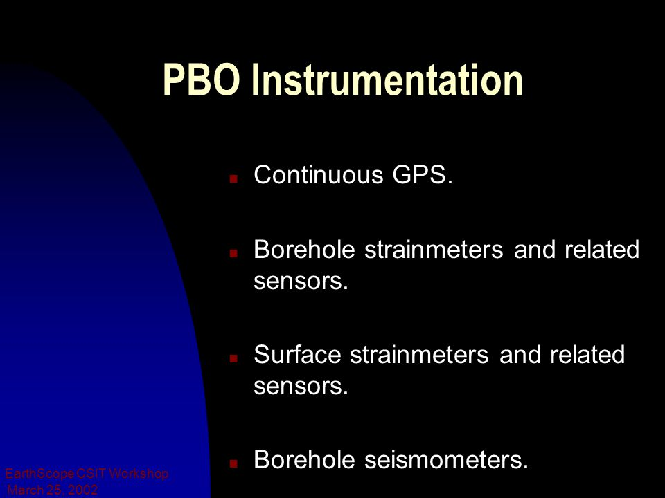 March 25, 2002 EarthScope CSIT Workshop PBO Instrumentation n Continuous GPS. n Borehole strainmeters and related sensors. n Surface strainmeters and