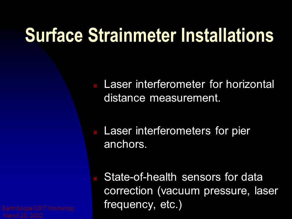 March 25, 2002 EarthScope CSIT Workshop Surface Strainmeter Installations n Laser interferometer for horizontal distance measurement.