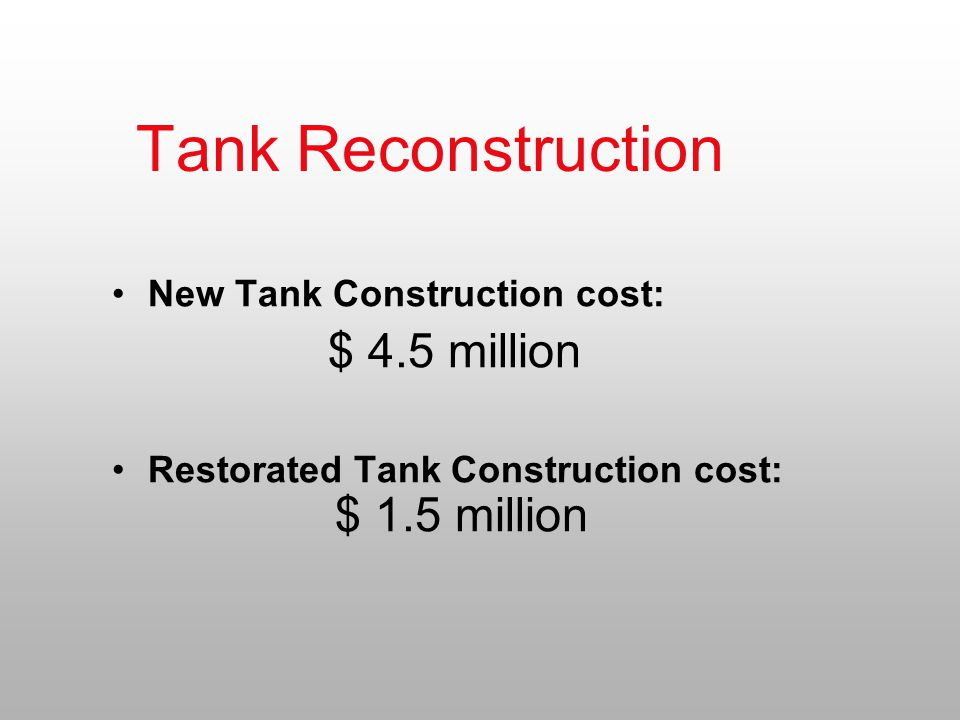 Tank Reconstruction New Tank Construction cost: $ 4.5 million Restorated Tank Construction cost: $ 1.5 million