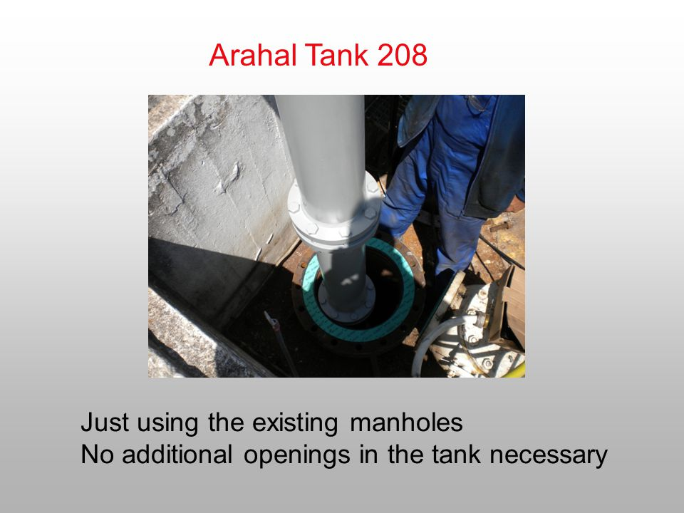 Arahal Tank 208 Just using the existing manholes No additional openings in the tank necessary
