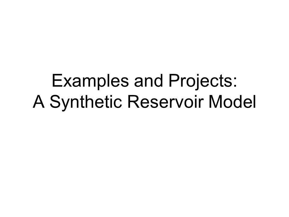 Examples and Projects: A Synthetic Reservoir Model