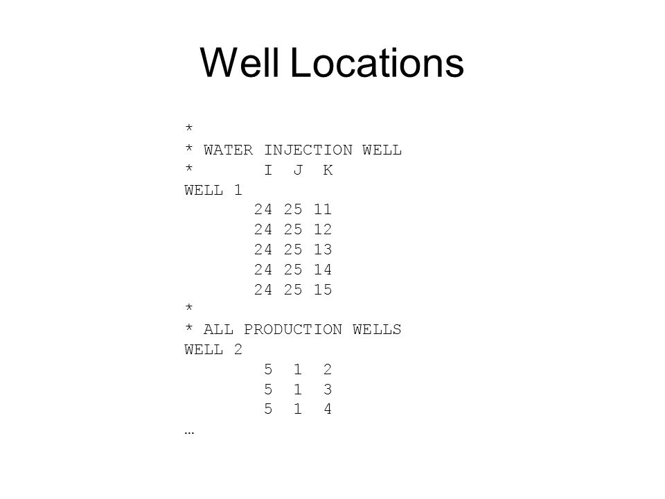 Well Locations * * WATER INJECTION WELL * I J K WELL 1 24 25 11 24 25 12 24 25 13 24 25 14 24 25 15 * * ALL PRODUCTION WELLS WELL 2 5 1 2 5 1 3 5 1 4 …