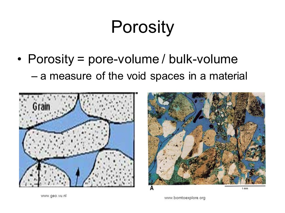 Porosity Porosity = pore-volume / bulk-volume –a measure of the void spaces in a material www.geo.vu.nl www.borntoexplore.org