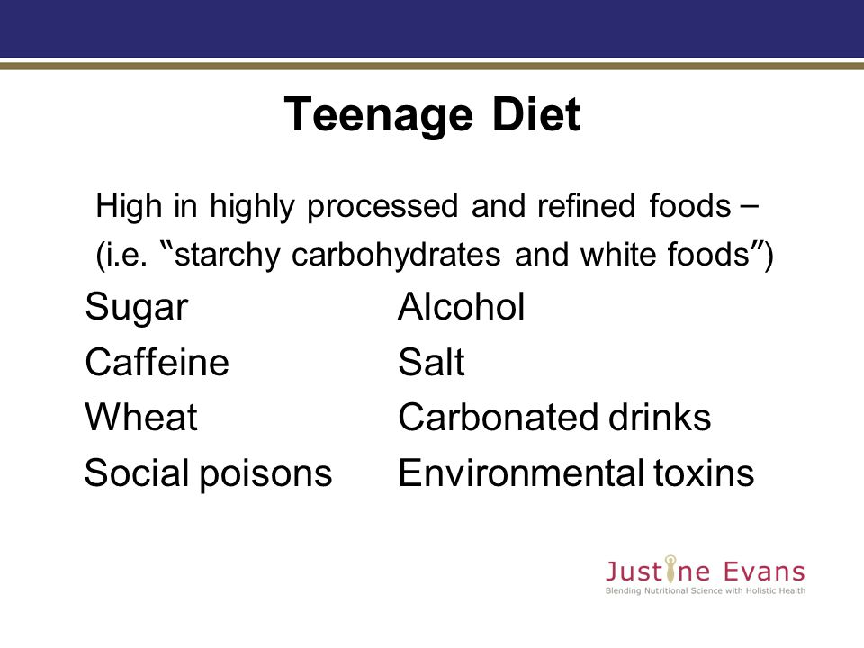 Teenage Diet High in highly processed and refined foods – (i.e.