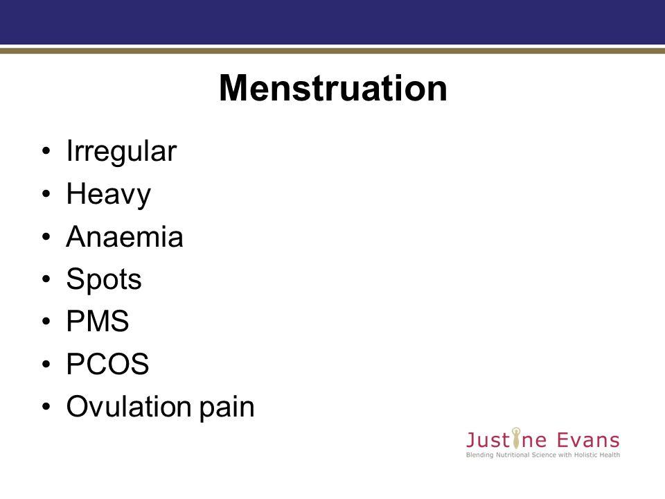 Menstruation Irregular Heavy Anaemia Spots PMS PCOS Ovulation pain