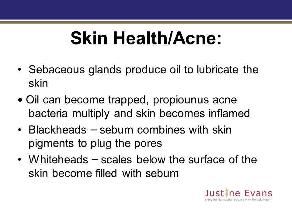 Skin Health/Acne: Sebaceous glands produce oil to lubricate the skin Oil can become trapped, propiounus acne bacteria multiply and skin becomes inflamed Blackheads – sebum combines with skin pigments to plug the pores Whiteheads – scales below the surface of the skin become filled with sebum