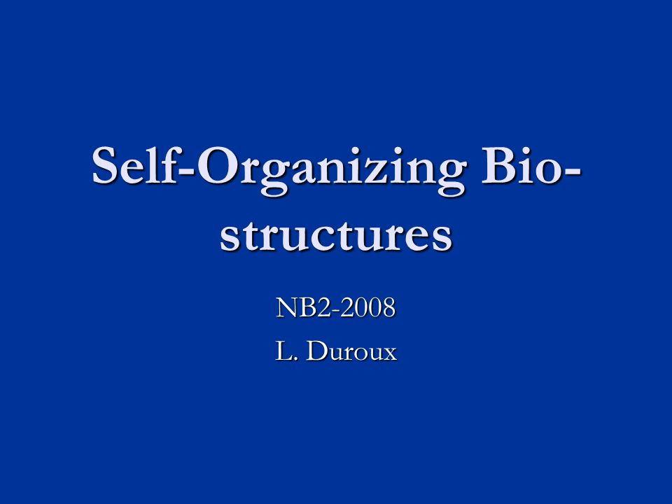 Self-Organizing Bio- structures NB2-2008 L. Duroux