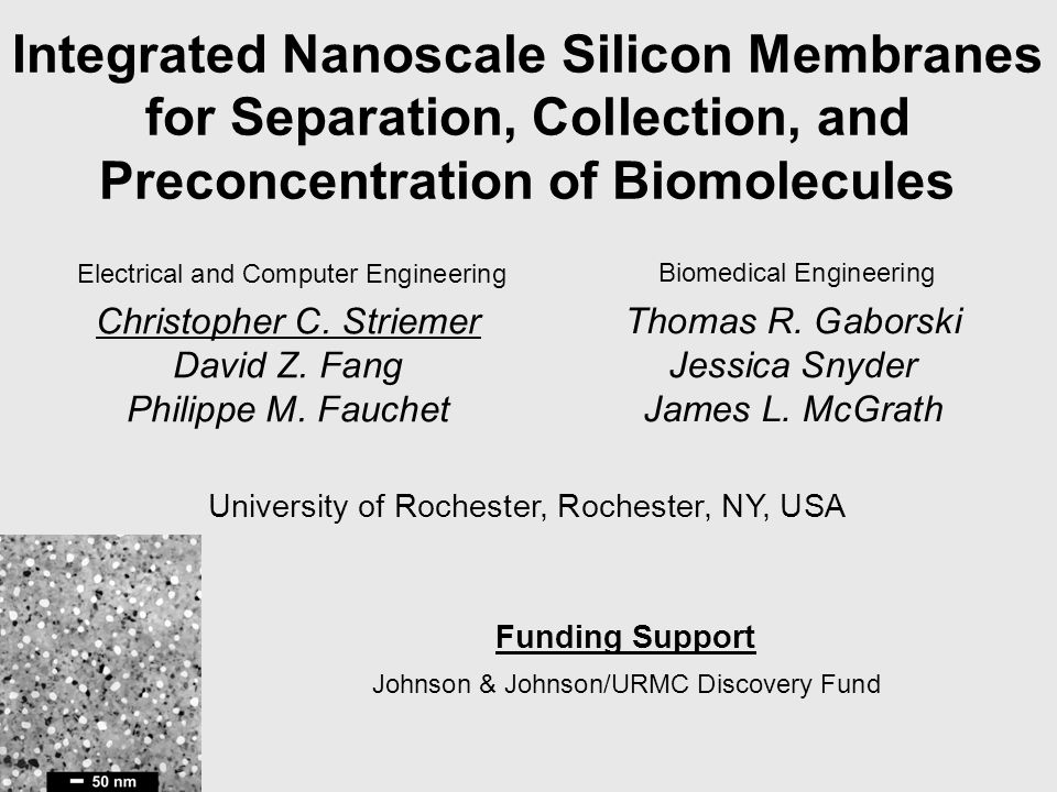 Integrated Nanoscale Silicon Membranes for Separation, Collection, and Preconcentration of Biomolecules Thomas R. Gaborski Jessica Snyder James L. McG