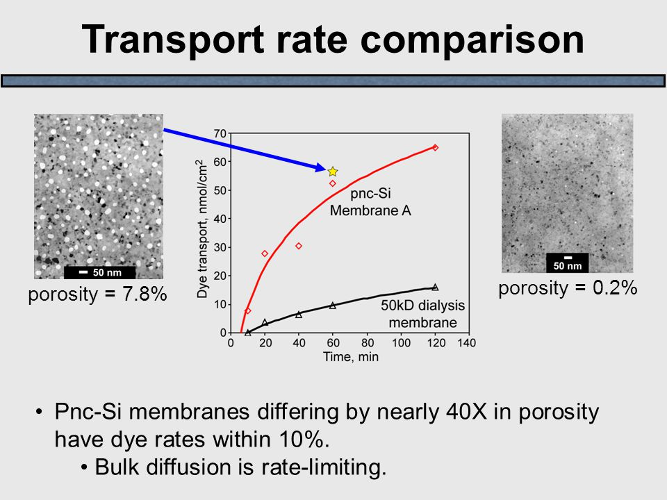 Transport rate comparison Pnc-Si membranes differing by nearly 40X in porosity have dye rates within 10%. Bulk diffusion is rate-limiting. porosity =