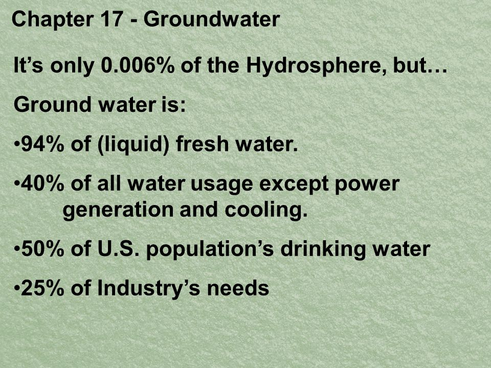 Chapter 17 - Groundwater It's only 0.006% of the Hydrosphere, but… Ground water is: 94% of (liquid) fresh water.