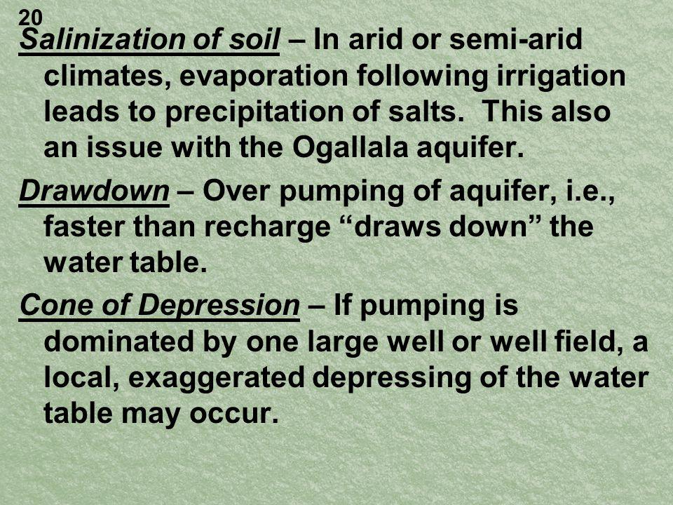 Salinization of soil – In arid or semi-arid climates, evaporation following irrigation leads to precipitation of salts.