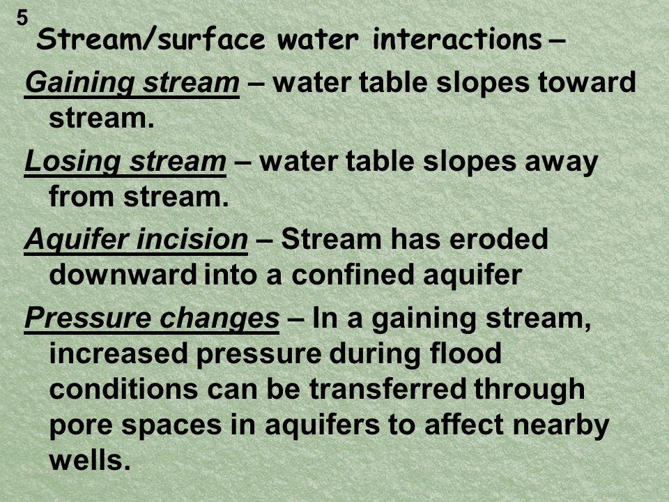Stream/surface water interactions – Gaining stream – water table slopes toward stream.