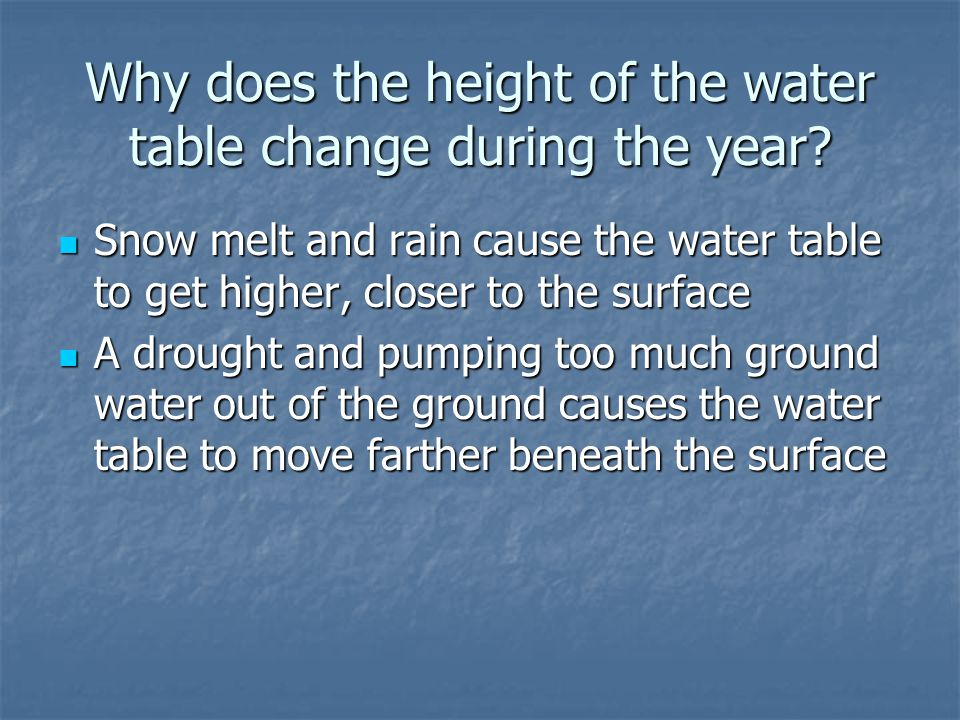 Why does the height of the water table change during the year.