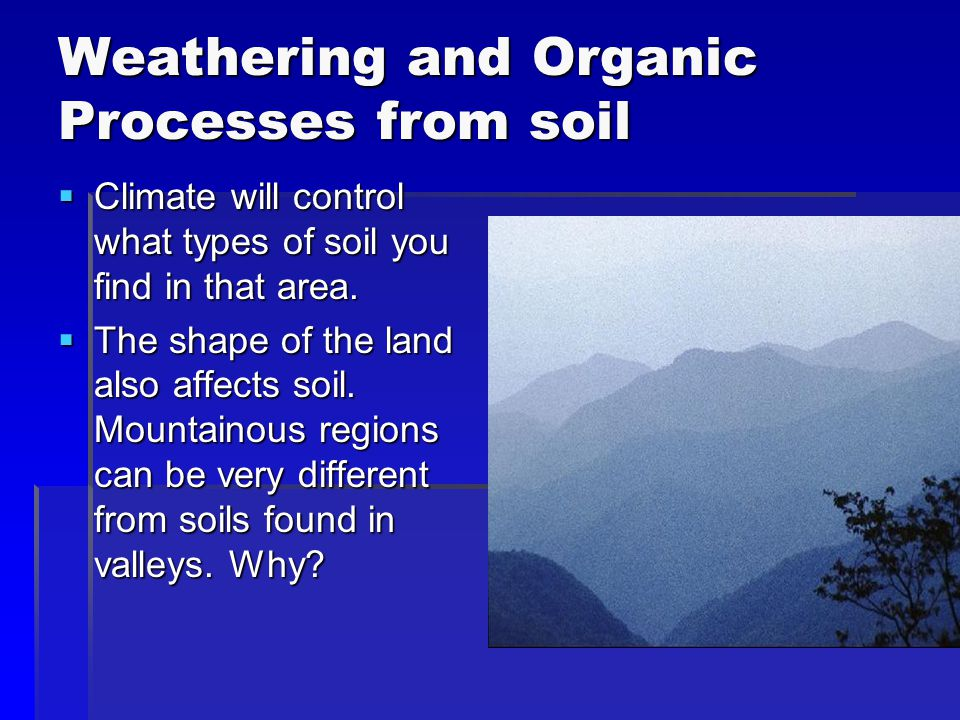 Weathering and Organic Processes from soil  Climate will control what types of soil you find in that area.  The shape of the land also affects soil.