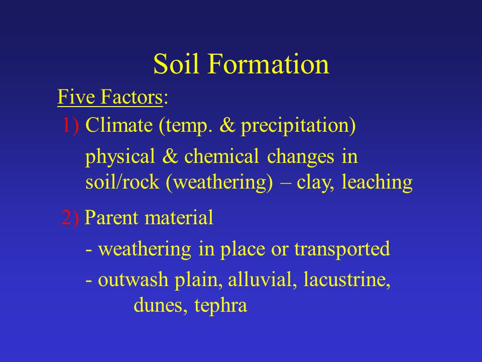 Soil Formation Five Factors: 1)Climate (temp.