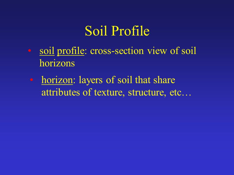 Soil Profile soil profile: cross-section view of soil horizons horizon: layers of soil that share attributes of texture, structure, etc…