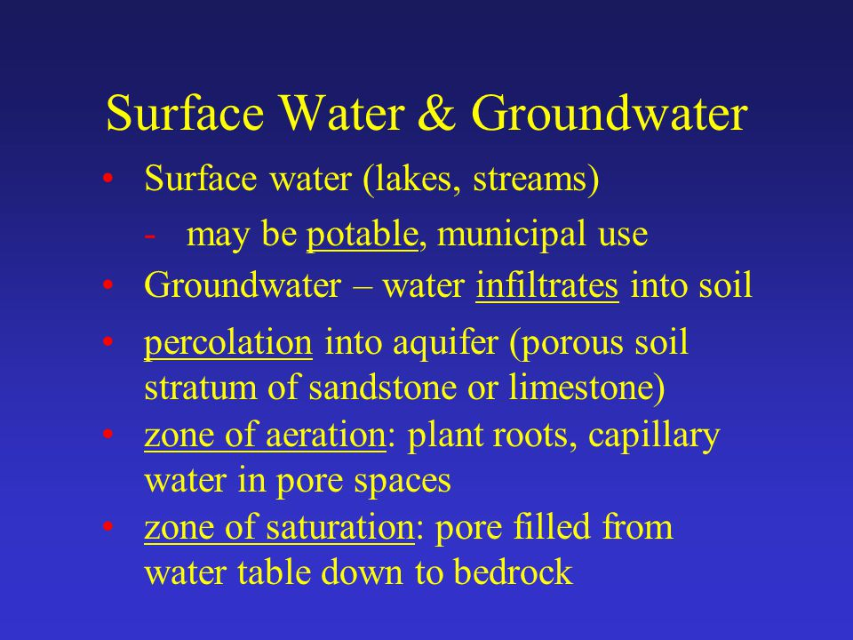 Surface Water & Groundwater Surface water (lakes, streams) -may be potable, municipal use Groundwater – water infiltrates into soil percolation into aquifer (porous soil stratum of sandstone or limestone) zone of aeration: plant roots, capillary water in pore spaces zone of saturation: pore filled from water table down to bedrock