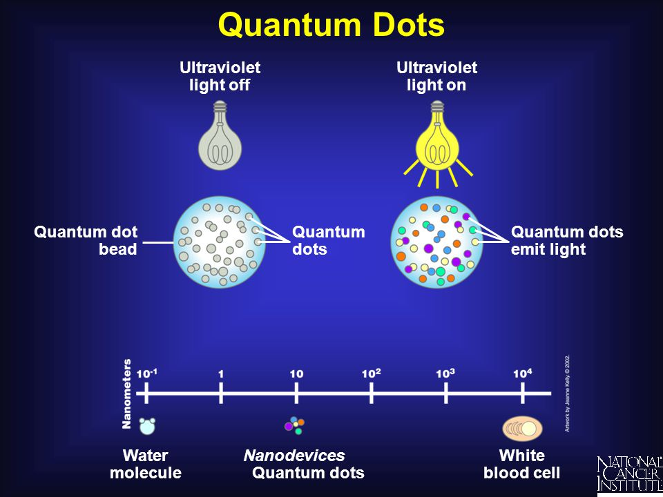Quantum Dots Ultraviolet light off White blood cell Water molecule Nanodevices Quantum dots Quantum dots emit light Ultraviolet light on Quantum dots Quantum dot bead