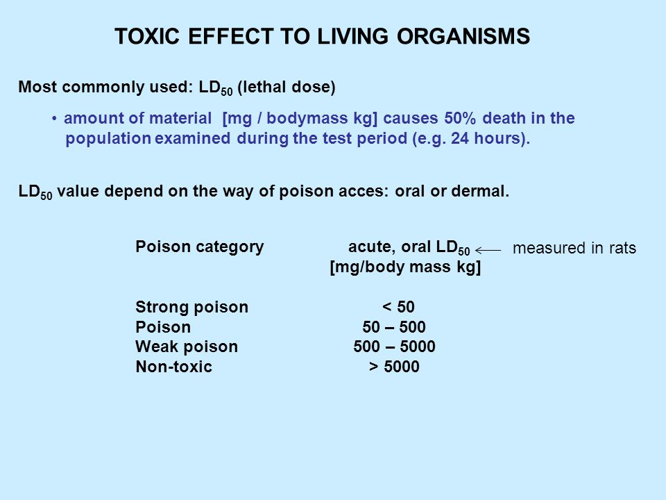 toxic effect of pesticide to small mammals (rat) oral LD 50 dermal LD 50 *[mg / bm kg] *[mg / bm kg] Chlorinated hydrocarbon DDT 200 – 400 Organophosphates malathion 100 – 200 2000 – 3000 dichlorophosphate 10 – 80 100 – 200 Carbamates carbaryl 300 – 2000 pyrethroids 250 - 1500 Pyrethroids: mammals –> good resistance fishes –> LD 50 in 1,8 μg/ water dm 3 96 hours TOXIC EFFECT TO LIVING ORGANISMS *[mg / bm kg] = [mg / bodymass kg]
