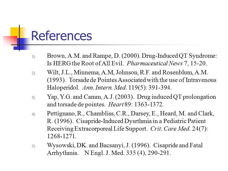 References 1) Brown, A.M. and Rampe, D. (2000).