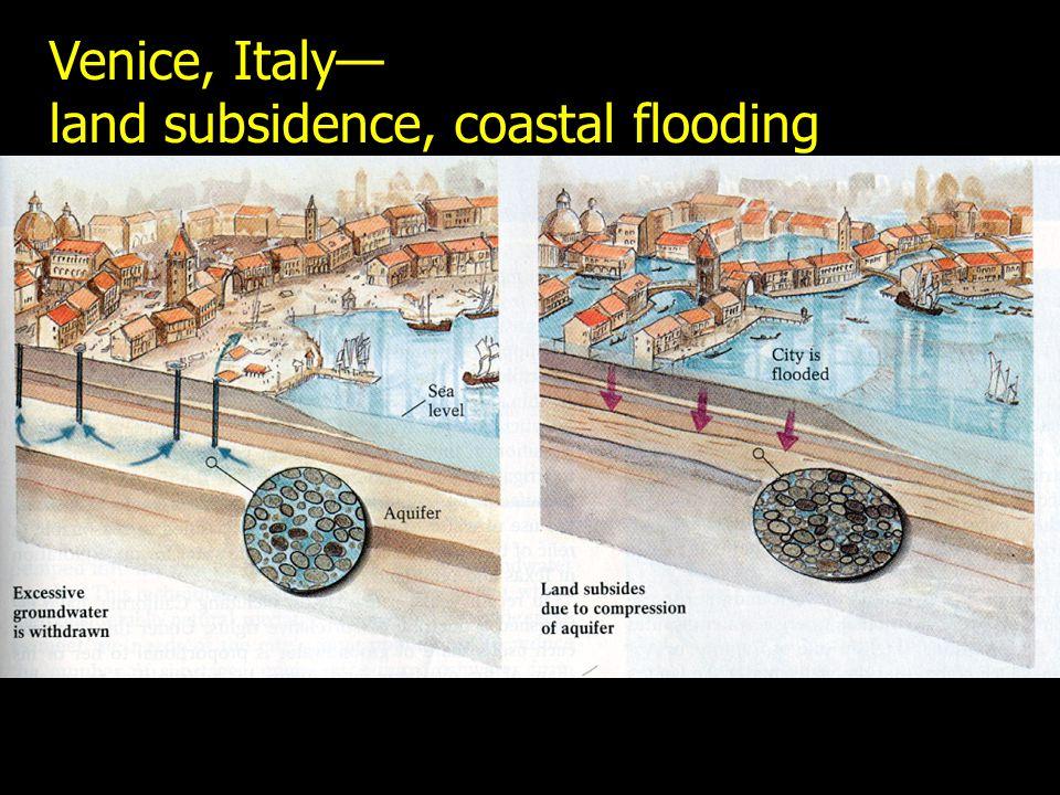 Venice, Italy— land subsidence, coastal flooding