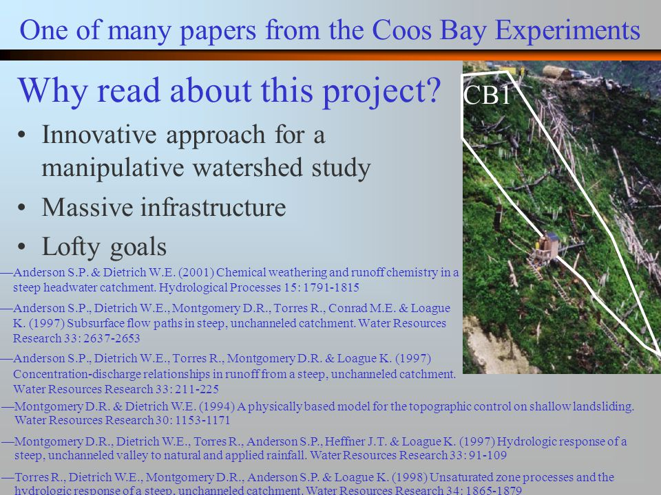 One of many papers from the Coos Bay Experiments —Anderson S.P.