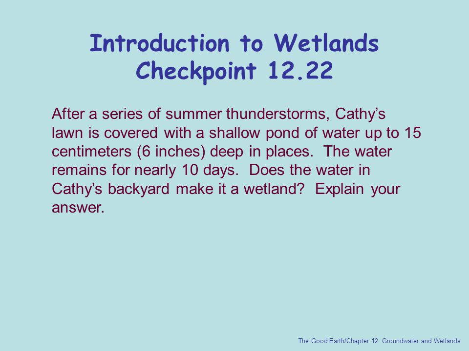 Introduction to Wetlands Checkpoint 12.22 The Good Earth/Chapter 12: Groundwater and Wetlands After a series of summer thunderstorms, Cathy's lawn is