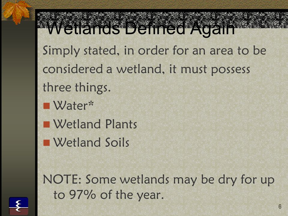 6 Wetlands Defined Again Simply stated, in order for an area to be considered a wetland, it must possess three things.