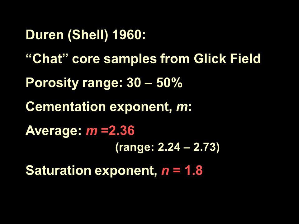 "Duren (Shell) 1960: ""Chat"" core samples from Glick Field Porosity range: 30 – 50% Cementation exponent, m: Average: m =2.36 (range: 2.24 – 2.73) Satur"