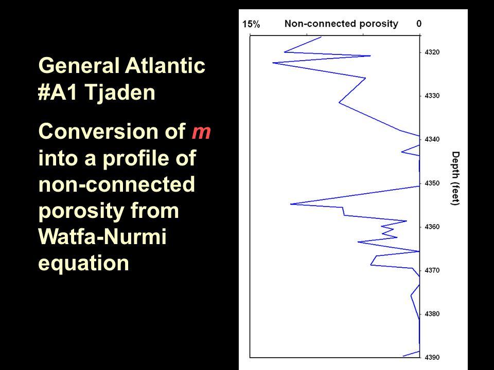 General Atlantic #A1 Tjaden Conversion of m into a profile of non-connected porosity from Watfa-Nurmi equation