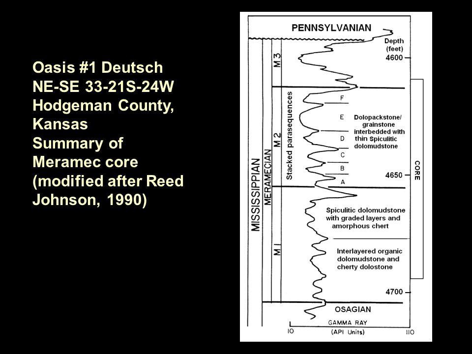 Oasis #1 Deutsch NE-SE 33-21S-24W Hodgeman County, Kansas Summary of Meramec core (modified after Reed Johnson, 1990)