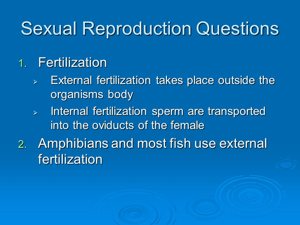 Sexual Reproduction Questions 1.