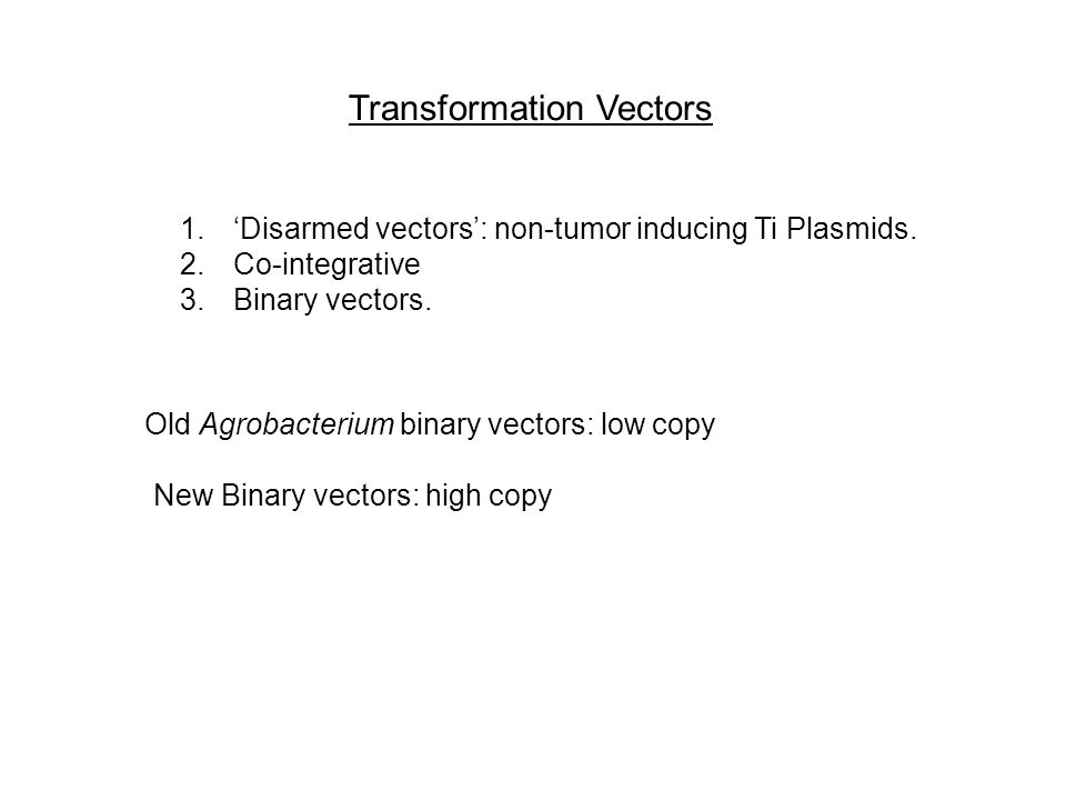Transformation Vectors 1.'Disarmed vectors': non-tumor inducing Ti Plasmids. 2.Co-integrative 3.Binary vectors. Old Agrobacterium binary vectors: low