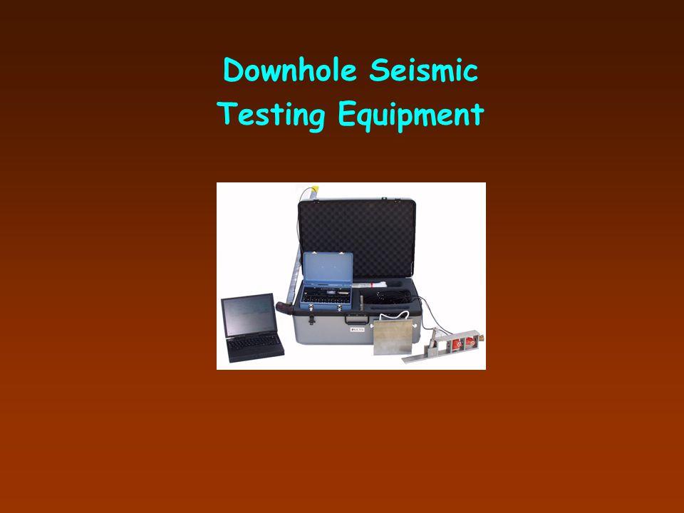 Crosshole Testing Oscilloscope PVC-cased Borehole PVC-cased Borehole Downhole Hammer (Source) Velocity Transducer (Geophone Receiver) tt xx Shear