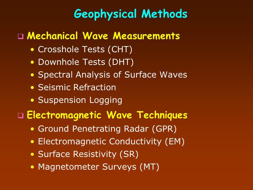 Chapter 5 GEOPHYSICS  Mechanical Wave Measurements  Electromagnetic Wave Techniques