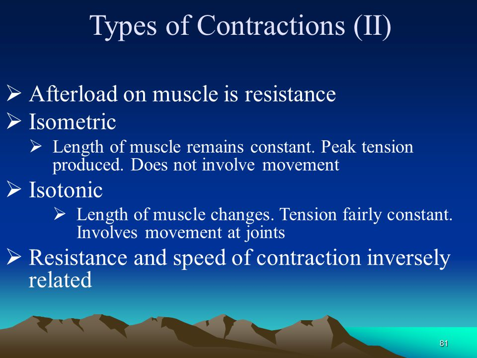 80 Afterload  Afterload is a load on the muscle after the beginning of muscle contraction.