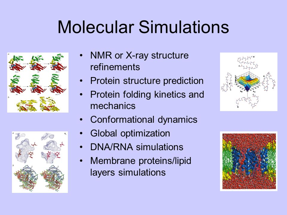 Molecular Simulations NMR or X-ray structure refinements Protein structure prediction Protein folding kinetics and mechanics Conformational dynamics G